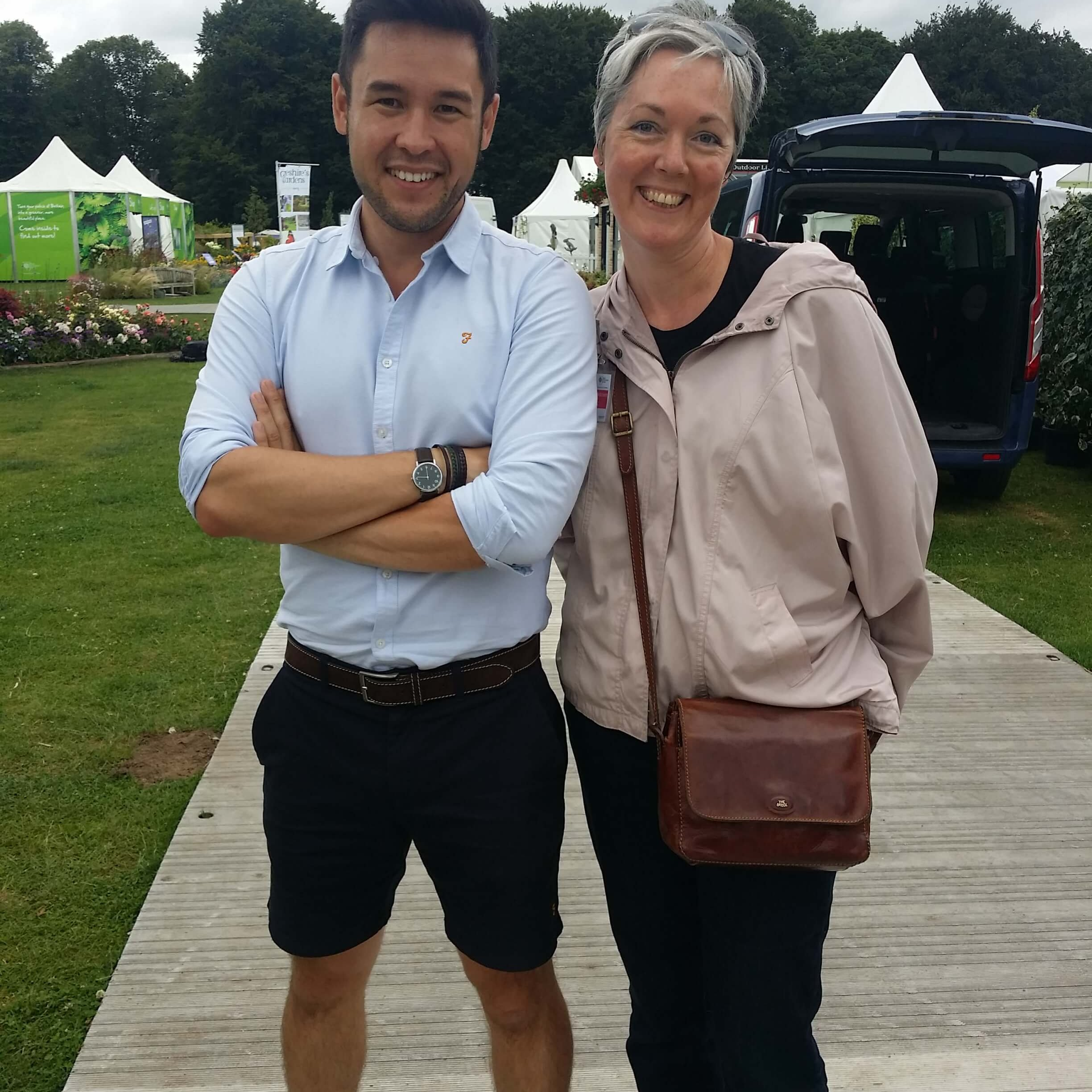 marsden garden designer lindsay haycock with gardeners world james wong